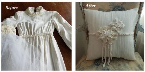 Wedding Dress Memory Pillow Before and After