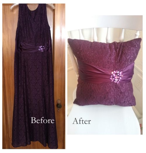 before and after keepsake memory pillow from a loved one's clothing