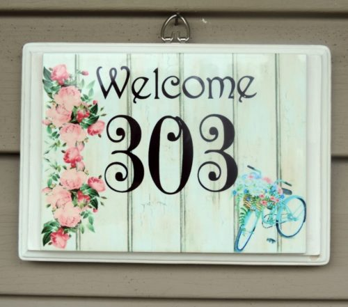 Custom Address Sign House Number Sign with Roses and Bike Shabby Chic