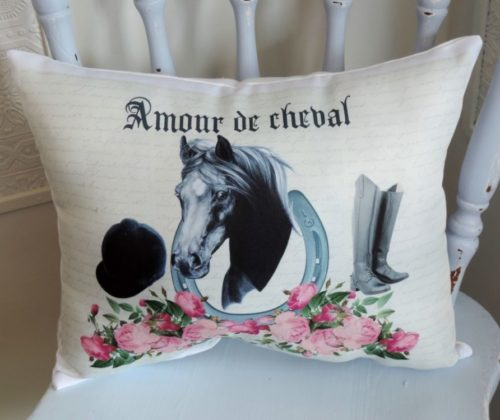French Inspired Horse Throw Pillow