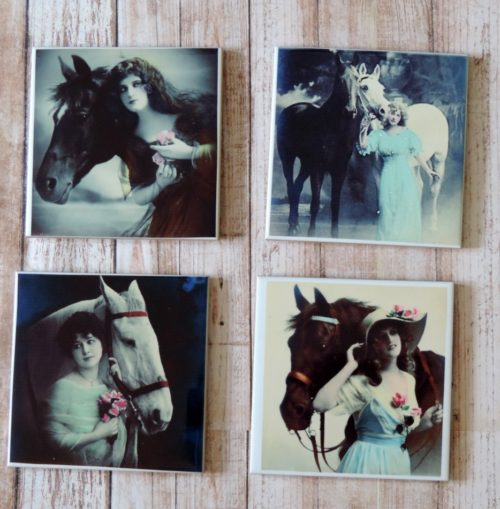 Vintage Victorian Horse Coaster Set Ceramic Tile Shabby Chic