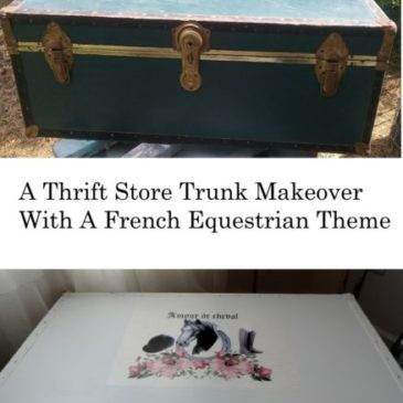 A Thrift Store Foot Locker Trunk Makeover with A French Equestrian Twist