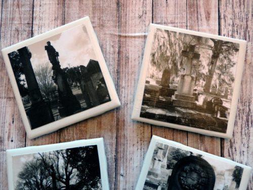 Creepy Cemetery Photo Coaster Set Black and White Halloween Coasters