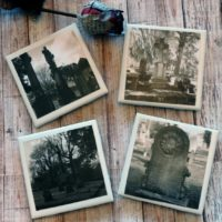 Creepy Cemetery Photo Coaster Set Black and White Halloween Coaster Set