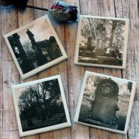 Creepy Cemetery Photo Coaster Set Black and White Halloween Coaster Set