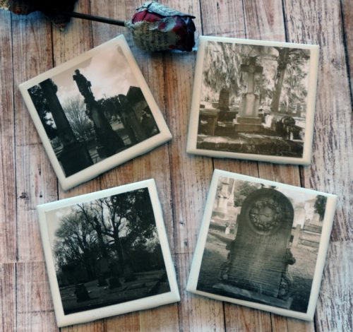 Historic Cemetery Photo Coaster Set Halloween Coasters