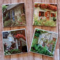 English Cottage Photos Ceramic Tile Coaster Set
