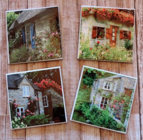 English Cottage Photos Ceramic Tile Coaster Set