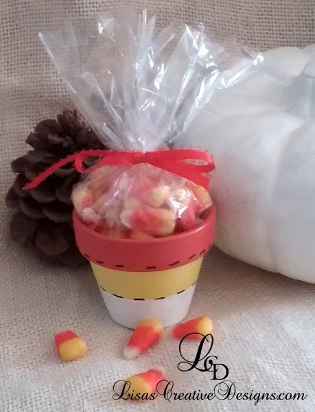 Hand Painted Candy Corn Terracotta Flower Pot Candy Favor