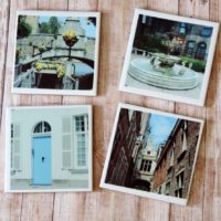 Old World Historical Europe Photo Coaster Set Belgium Architecture