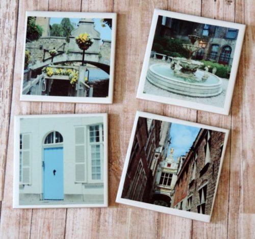 Old World Historical Europe Photo Coaster Set Belgium Architecture