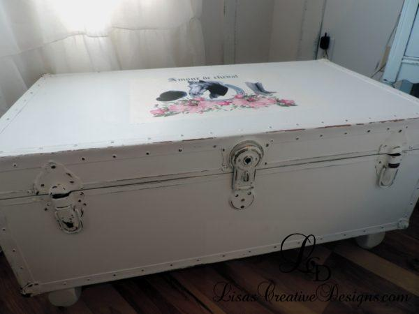 Upcycled shabby chic french horse themed trunk foot locker