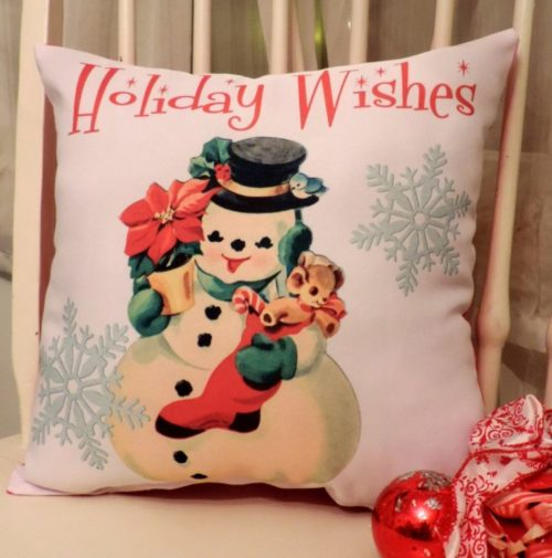 Holiday Wishes Vintage Retro Snowman Pillow