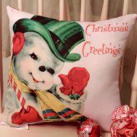 Handmade Vintage Style Waving Snowman Christmas Pillow