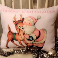 Retro Pink Santa and Reindeer Merry Christmas Pillow