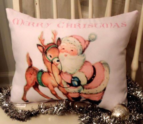 Retro Pink Santa and Reindeer Merry Christmas Pillow