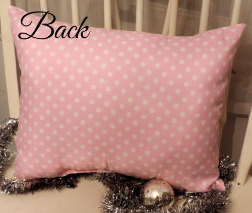 Pink and White Polka Dot Pillow Back