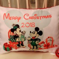 Handmade Vintage Disney Inspired Mickey and Minnie Mouse Christmas Pillow