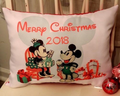 Vintage Disney Inspired Mickey Mouse and Minnie Mouse Christmas Pillow