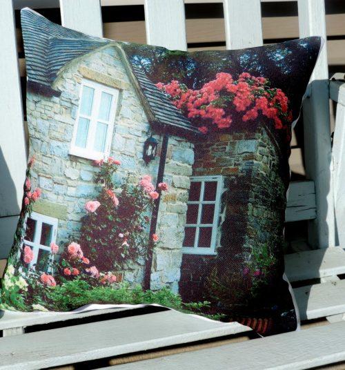 English Cottage Photo Throw Pillow