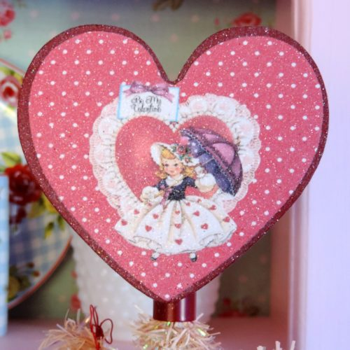 Heart Shaped Vintage Valentine Tree Topper