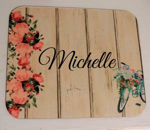 Personalized Shabby Chic Mousepad With Roses