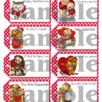 Printable Retro Vintage Kitsch Valentine Card Gift Tags Sample Sheet