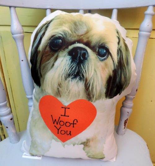 Personalized I WOOF YOU Dog Photo Pillow