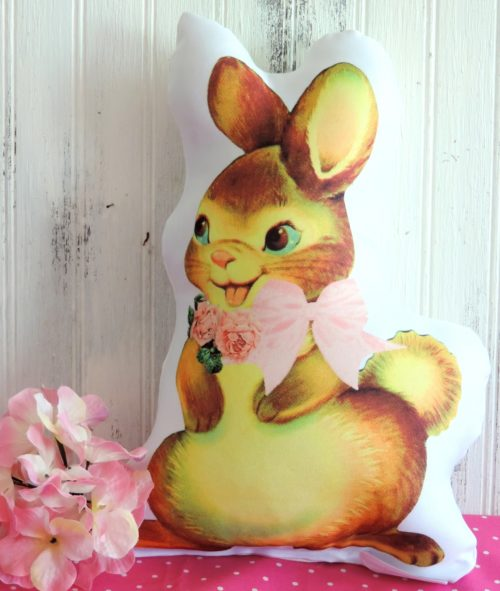 Vintage Inspired Girl Easter Bunny Pillow