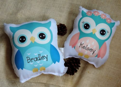 Personalized Owl Gift Pillow For Children or Baby
