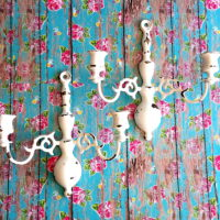 white shabby chic distressed candle sconces