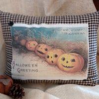 Vintage Victorian Jack O'Lantern Halloween Postcard Pillow