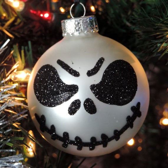 Jack Skellington Christmas.Glittered Jack Skellington Christmas Tree Ornament