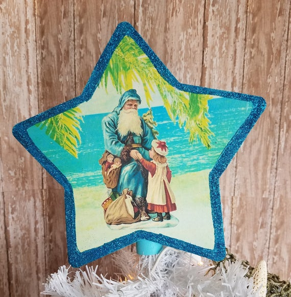 Beach Christmas Tree Topper: Vintage Inspired Turquoise Blue Nautical Beach Christmas