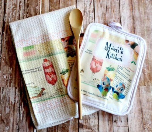 Personalized Retro Recipe Kitchen Towel and Potholder Set