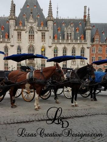 Carriage Rides in Grote Markt, Market Square in Bruges Belgium