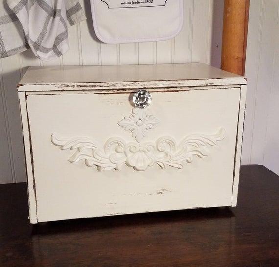 White distressed shabby chic french bread box elegant for Shabby chic blog italiani