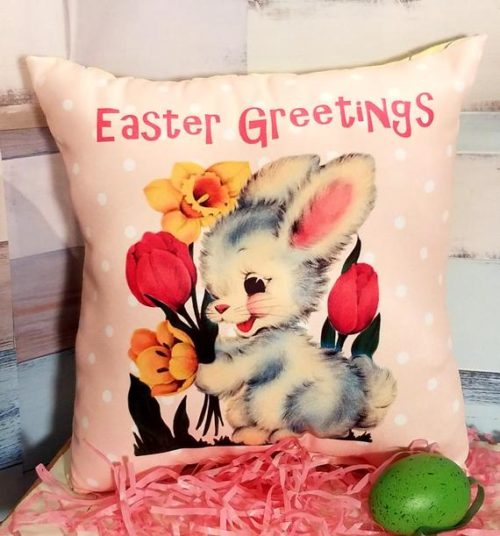 Pink Retro Kitsch Easter Pillow Made From Vintage Greeting Card Image of Easter Bunny, Tulips & Daffodils, Cute Easter Decor or Gift