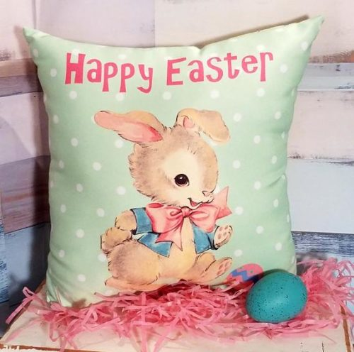Retro Kitsch Easter Pillow Made From Vintage Greeting Card Image of Vintage Easter Bunny, Cute Easter Decor or Gift