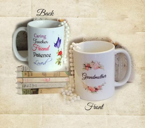 Beautiful Grandmother Gift Coffee Mug, 2 sided Coffee Cup w/ Rose, Butterfly & Sentiments, Special Christmas or Birthday Gift For Grandma