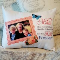 Personalized Mother Holds Their Childrens Hands Photo Pillow