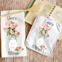 Personalized Pink Roses in Mason Jar Kitchen Towel Dish Cloth & Pot Holder Gift Set, Shabby Chic Housewarming or Bridal Shower Gift