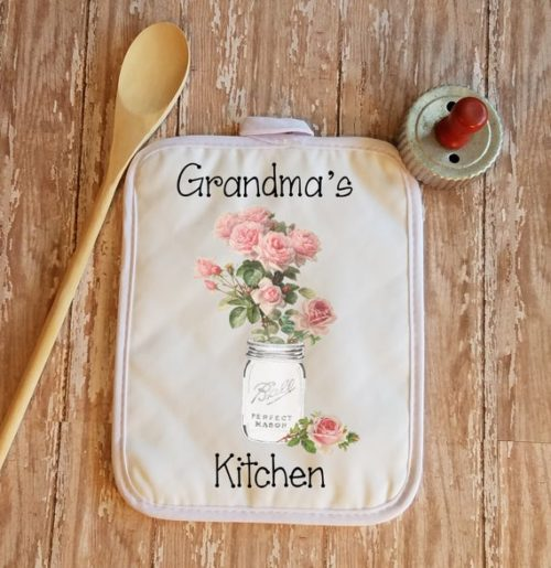 Personalized Pink Roses in Mason Jar Kitchen Towel Pot Holder