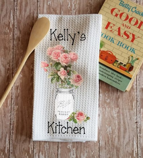 Personalized Pink Roses in Mason Jar Kitchen Towel Dish Cloth