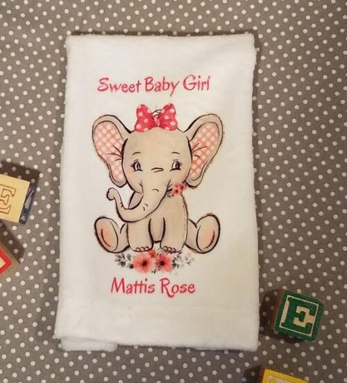 Sweet Personalized Baby Girl Elephant Burpcloth, Baby Shower or New Baby Gift, Vintage Inspired Elephant Nursery Decor