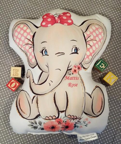 Sweet Personalized Baby Girl Elephant Gift Pillow, Baby Shower or New Baby Gift, Vintage Inspired Elephant Nursery Decor