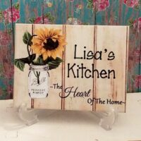 Personalized Country Sunflower In Mason Jar Ceramic Tile Kitchen Sign Plaque