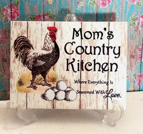 Personalized Rooster Country Kitchen Ceramic Tile Sign
