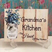 Personalized Grandma's Kitchen Sign Ceramic Tile Sign w/ Mason Jar and Forget Me Nots
