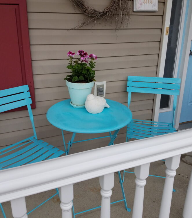 Painted Turquoise Bistro Set